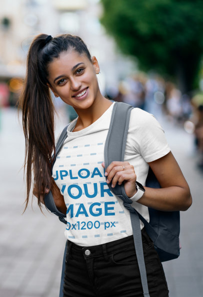 Transparent Mockup of a Woman Wearing a T-Shirt and a High-Ponytail While Going to School 46483-r-el2