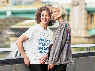 Transparent Tee Mockup of a Man with Curly Hair Hanging Out with His Girlfriend 42685-r-el2