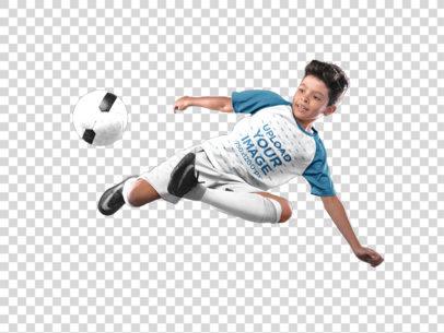 Transparent Custom Soccer Jerseys - Boy Doing a Scissor Side Kick a16605