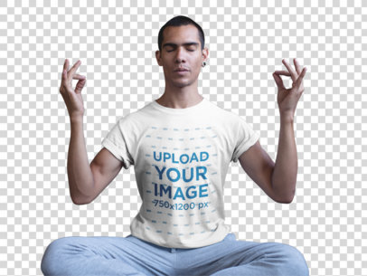 Transparent Man in a Seated Mudra Pose Wearing a T-Shirt Mockup a20033