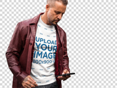 Transparent Sublimated T-Shirt Mockup Featuring a Middle-Aged White Man a9367
