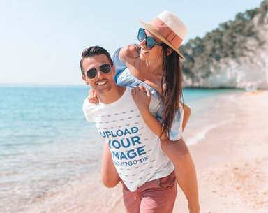 Transparent T-Shirt Mockup of a Man Carrying His Girlfriend on His Back 40160-r-el2
