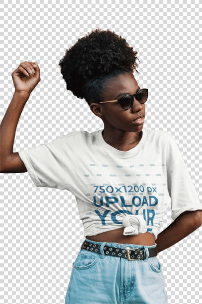Transparent Mockup of a Kinky-Haired Woman Wearing a Knotted Tee 3853-el1