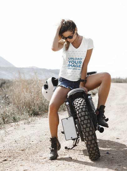Transparent V-Neck T-Shirt Mockup of a Woman on a Motorcycle 35204-r-el2