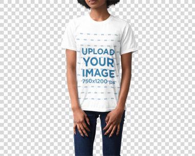 Transparent Studio Mockup of a Woman Wearing a Loose T-Shirt 4859-el1