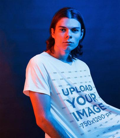 Transparent T-Shirt Mockup of a Man with a Gradient-Colored Light 46441-r-el2