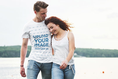 Transparent T-Shirt Mockup of a Man Hugging His Girlfriend by the Sea 46400-r-el2
