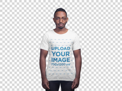 Transparent T-Shirt Mockup of a Man With Both of His Ears Pierced 21048