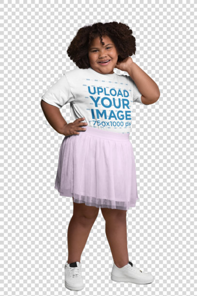Transparent Plus Size Tee Mockup of a Joyful Girl with Curly Hair Surrounded by Cut out Paper Shapes 25569