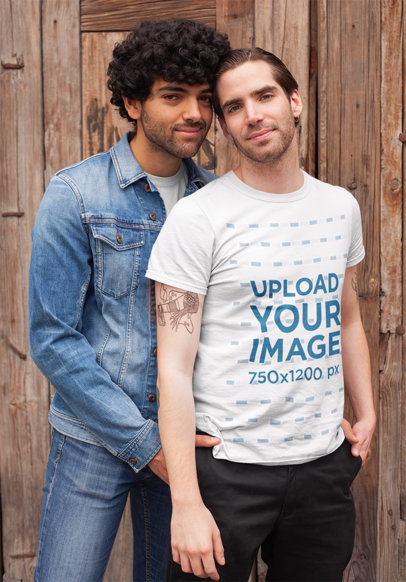 Transparent T-Shirt Mockup of a LGBT Man Posing with His Boyfriend 25402