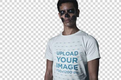 Transparent T-Shirt Mockup Featuring a Man Wearing Skeleton Makeup 23017