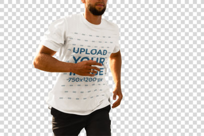 Transparent Cropped Face Mockup of a Bearded Man with a T-Shirt Running on the Beach 4345-el1