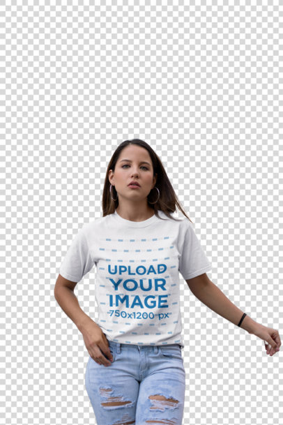 Transparent Unisex Tee Mockup of a Woman in a Mall Parking Lot 23066
