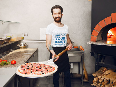 Transparent T-Shirt Mockup of a Bearded Man Baking a Pizza 42693-r-el2
