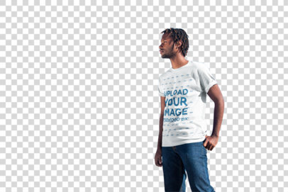 Transparent Mockup of a Man Wearing a T-Shirt on an Empty Road 20047