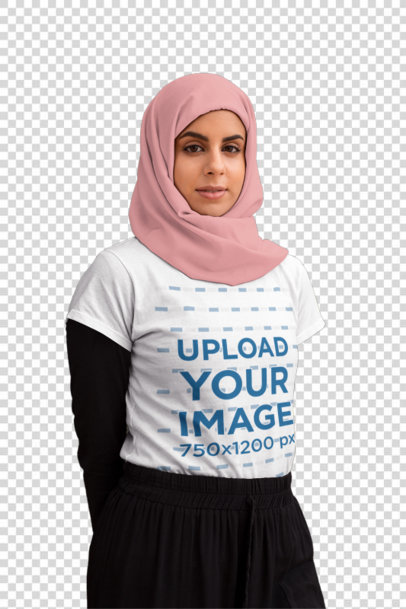Transparent T-Shirt Mockup of a Serious-Looking Woman Wearing a Hijab 28273