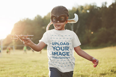 Transparent T-Shirt Mockup Featuring a Little Boy Playing With an Airplane Toy 45253-r-el2