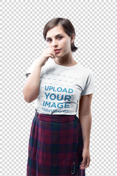 Transparent Short Haired Girl Wearing a T-Shirt Mockup Against a White Background a19984