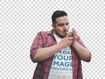 Transparent Plus Size Tee Mockup Featuring a Guy Lighting his Cigarette a12134