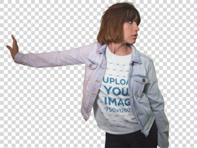 Transparent Young Short Haired Girl Wearing a Round Neck T-Shirt While Hanging Out Near Closed Stores Mockup a13575