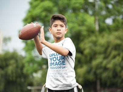 Transparent Custom Football Jerseys - Kid Throwing the Ball a16477