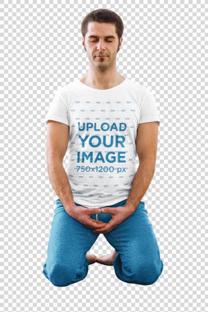 Transparent T-Shirt Mockup of a Man Practicing Yoga 37299-r-el2