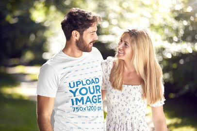 Transparent Basic T-Shirt Mockup of a Bearded Man Walking With His Girlfriend at a Park 45780-r-el2