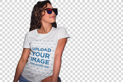 Transparent T-Shirt Mockup of a Trendy Girl in Front of a Chalkboard  22283