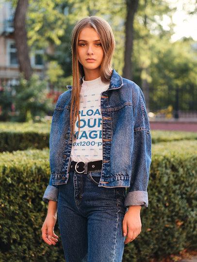 Transparent T-Shirt Mockup of a Woman Posing at a Park 38697-r-el2