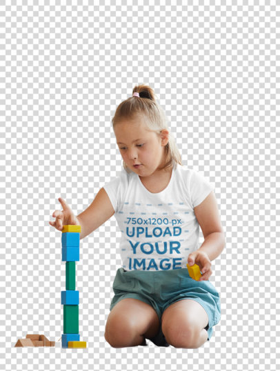 Transparent T-Shirt Mockup Featuring a Girl Playing with Blocks at Home 43004-r-el2