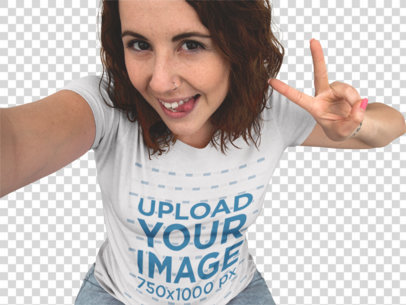 Transparent Trendy Girl Wearing a Round Neck T-Shirt Taking a Selfie with a Funny Face a12901