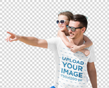 Transparent T-Shirt Mockup of a Man at the Beach Carrying His Daughter 40679-r-el2
