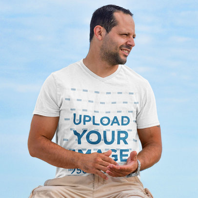 Transparent V-Neck T-Shirt Featuring a Man and a Blue Sky in the Background m2430-r-el2