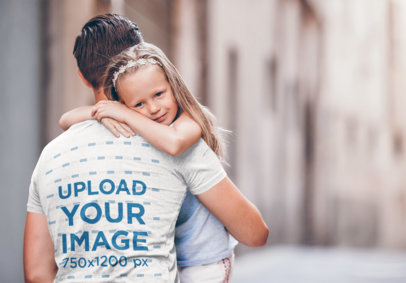 Transparent Back-View T-Shirt Mockup of a Dad Carrying Her Daughter 37456-r-el2