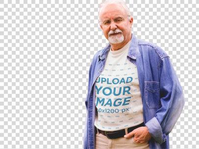 Transparent Elder Man Wearing a T-Shirt with a Denim Long Sleeve Mockup a12393