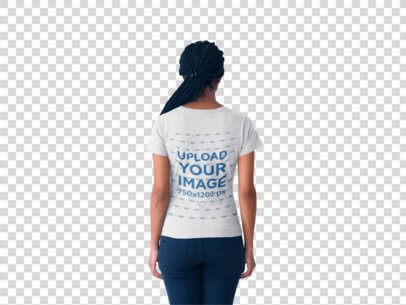 Transparent Back Shot Mockup of a Woman with Braids Wearing a Tshirt 20741