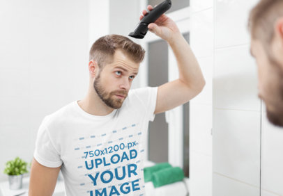 Transparent T-Shirt Mockup of a Man Cutting His Own Hair in the Mirror 46467-r-el2