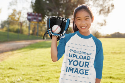 Transparent Raglan Tee Mockup of a Girl Playing Posing with Her Baseball Glove 39390-r-el2