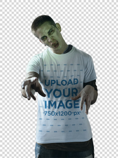 Transparent T-Shirt Mockup of a Man Acting like a Zombie 29338