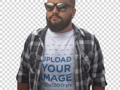 Transparent Plus Size T-Shirt Mockup of a Guy Wearing a Plaid Shirt and Sunglasses 12288