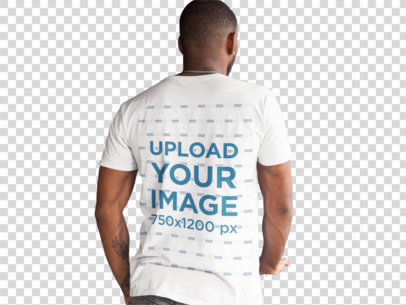 Transparent Back of a Black Man Wearing a Round Neck Tee Mockup a9369