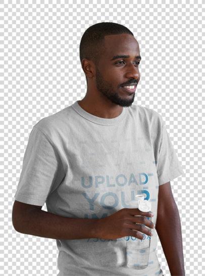 Transparent T-Shirt Mockup of a Chill Man Drinking Water 44845-r-el2