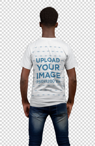 Transparent Back View T-Shirt Mockup of a Thin Man Against a Flat Gray Wall 21158