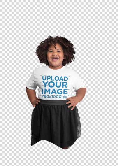 Transparent Plus Size Tee Mockup of a Curly-Haired Girl Having Fun at a Studio 25591