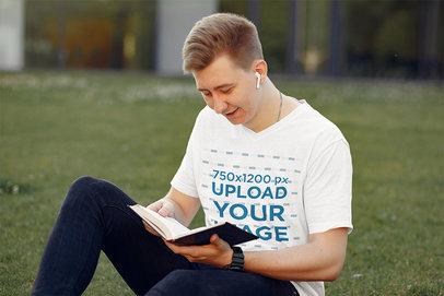 Transparent T-Shirt Mockup of a Young Student Reading in a Park 39176-r-el2