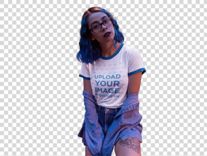 Transparent Mockup of a Hispanic Hipster Girl Wearing a Ringer T-Shirt While Sitting on an Urban Structure a16996