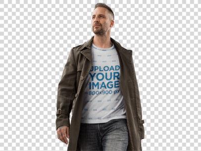 Transparent T-Shirt Mockup of a Tattooed Man in a Pedestrian Bridge a9357