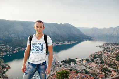 Transparent Sublimated V-Neck T-Shirt Mockup of a Traveler with a City's Landscape 37436-r-el2