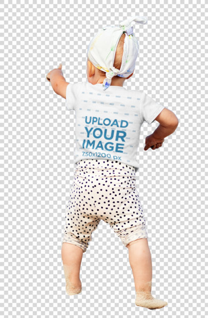 Transparent Back-View T-Shirt Mockup of a Little Kid at a Beach 40206-r-el2