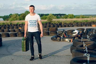 Transparent T-Shirt Mockup of a Muscular Man on a Go-Kart Track 43172-r-el2